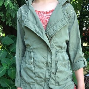 Jacket - Khaki girls Justice brand size 8/10.